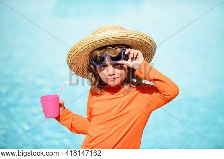 Child In Summer Pool. Summer Kids Party. Pool Resort. Smilling Boy At Aquapark. Kid Swimming In Wate