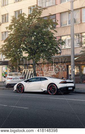 Kyiv, Ukraine - August 2020. Italian Supercar Lamborghini Huracan In A White Color On The Street.