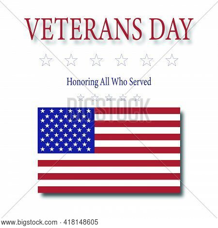 Veterans Day - Honoring All Who Served Plaque With American Flag Vector.