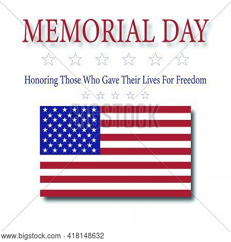 Memorial Day - Honoring All Who Gave Their Lives For Freedom Plaque With American Flag Vector.