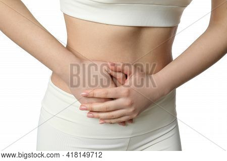 Woman Suffering From Pain In Lower Right Abdomen On White Background, Closeup. Acute Appendicitis