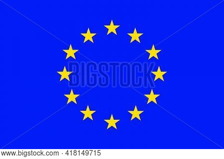 Flag Of Europe And The Eu Vector. Field Of Blue With 12 Stars In A Circle Pattern.
