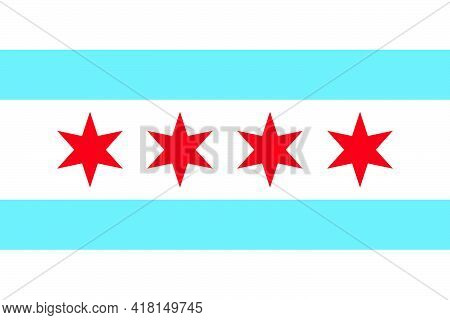Chicago City Flag Vector. White With Light Blue Stripe Background And Four Distinct Red Stars.