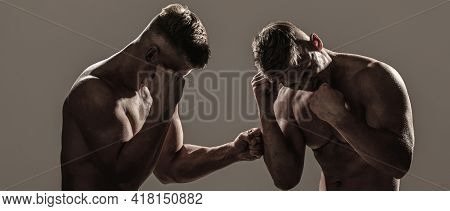 Two Men Boxers Boxing On Isolated Silhouette Background. Two Men Exercising Thai Boxing In Silhouett