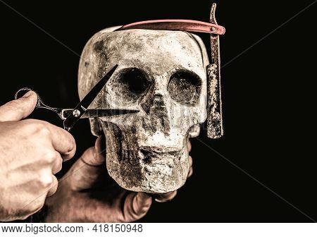 Barber Shop Tool. Skull Barber. Vintage Barber Shop Tools. Barber Scissors And Straight Razor, Barbe