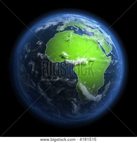 Abstract Earth With Clouds. 3d Rendering.