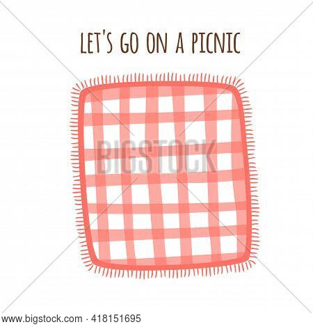 Picnic Blanket Park Isolated Graphic Element. Red Gingham Tablecloth Outdoors Summer Picnic Backgrou