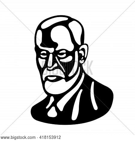 Sigmund Freud Is The Father Of Psychoanalysis. Black And White Portrait On A White Background. Black
