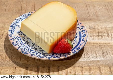 Cheese Collection, Piece Of Young Dutch Gouda Cheese Made From Cow Milk In Netherlands