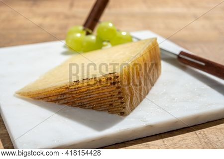 Cheese Collection, Piece Of Spanisch Hard Manchego Cheese Made In La Mancha Region From Sheep Milk