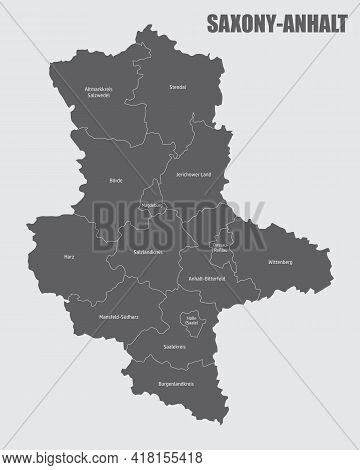 The Saxony-anhalt State, Isolated Map Divided In Districts With Labels, Germany