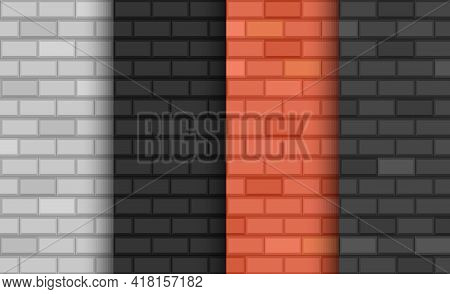 Different Types Of Brick Walls. Background Of Brick Walls. Red, White And Dark Colors. Seamless Patt