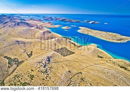 Kornati. Amazing Island Archipelago Landscape Of Kornati National Park Aerial Panoramic View, Dalmat