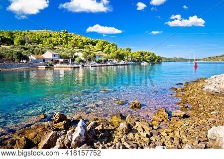 Katina Island Narrow Sea Passage In Kornati Islands National Park Pure Nature View, Archipelago Of D