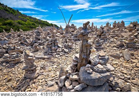 Telascica Bay On Dugi Otok Island Stone Desert Statues View, Archipelago Of Kornati, Dalmatia, Croat
