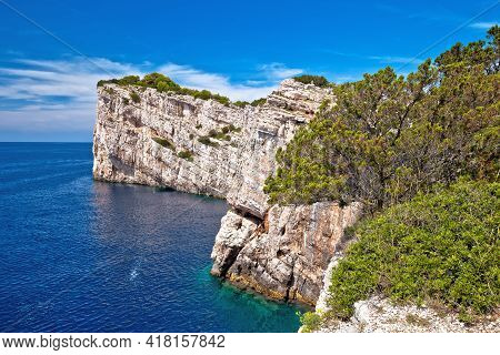 Kornati Archipelago National Park. Spectacular Cliffs Of Telascica Bay Above Blue Adriatic Sea, Dalm