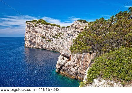 Kornati Archipelago National Park. Spectacular Cliffs Of Telascica Bay Above Blue Adriatic Sea, Dalm