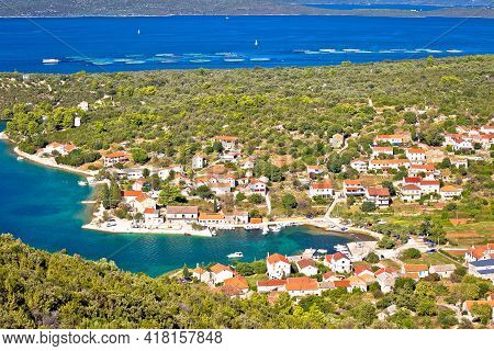 Village Of Luka On Dugi Otok Island Harbor And Waterfront Panoramic View, Dalmatia Region Of Croatia