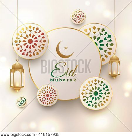 Eid Mubarak Elegant Decorative Greeting Design Vector Illustration