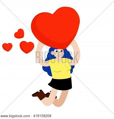 Woman Jump With Heart. Young Female Character. Romance And Love. Girl With A Cute Gift. Flat Cartoon
