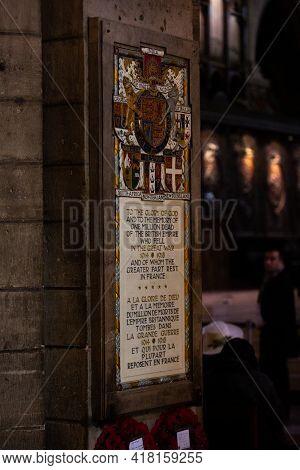 Paris, France, 1.11.2019 - Notre Dame De Paris Interior Detail. In Memory Plaque To One Million Men