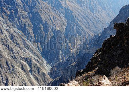 Colca Canyon In Peru. View Over Colca Canyon In Peru.