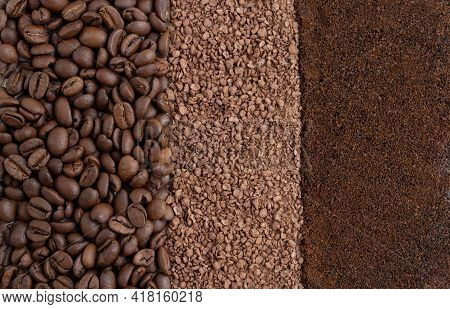 Background Of Roasted Coffee Beans, Granulated Chicory And Ground Coffee. Background Of Coffee Beans