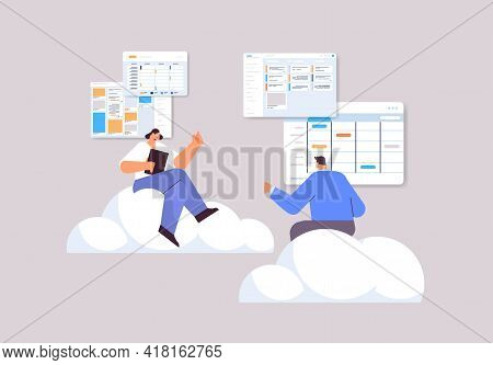Businesspeople Team Planning Day Scheduling Appointment In Calendar App Agenda Meeting Plan Time Man