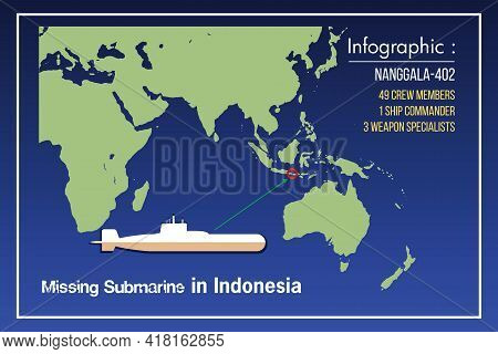 Missing Submarine Info-graphic And Map Illustration. The Missing Indonesian Submarine Kri Nanggala 4