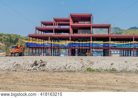 Daejeon, South Korea; April 18, 2021: Frame Of New Industrial Building Being Constructed In Rural Se