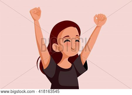 Happy Cheerful Teenage Girl Vector Illustration Character