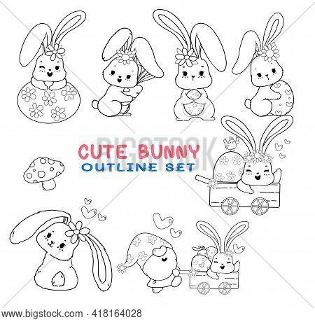 Cute Digital Stamp Spring Easter Bunny Cartoon Outline, Coloring Page Or Digital Brush