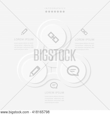 Vector Elegant Simple Refined Style Infographic Design Ui Template Spiral Round Cross Labels And Ico