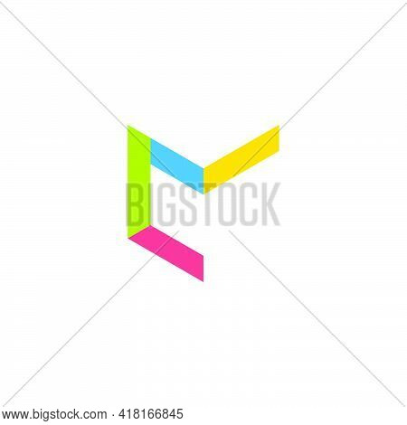 Vector Of Letter Cm Simple Geometric Linear Colorful Logo