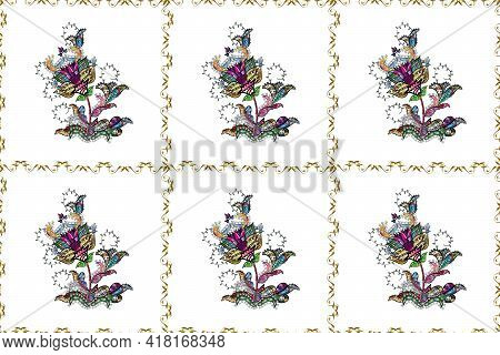 Raster Pattern. Raster Illustration. Gentle, Summer Floral On Brown, White And Black Colors. Cute Fl