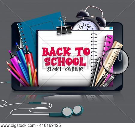 Back To School E-learning Vector Concept Design. Back To School Start Online Text With Elements Like