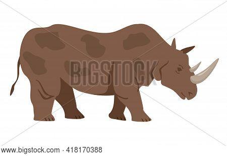 Gray Rhinoceros In Flat Cartoon Style. Silhouette Of A Standing Rhinoceros. Side View. Happy Friendl