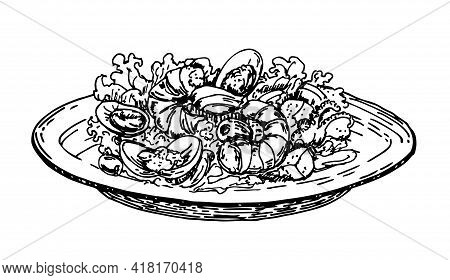 Hand Drawn Salad Of Shrimps. Sketch Style. Delicious Salad With Seafood And Vegetables On Plate On W