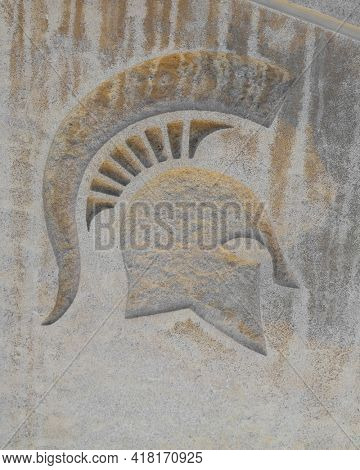 EAST LANSING, MI -22 AUGUST 2020- Symbol of Spartans in front of the entrance to the Breslin Center at Michigan State University (MSU) in East Lansing.