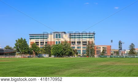 EAST LANSING, MI -22 AUGUST 2020- Main entrance building to the Spartan stadium at Michigan State University (MSU) in East Lansing.