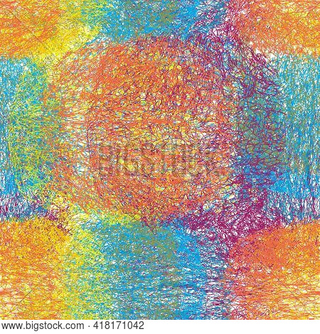 Seamless  Vivid Rainbow Pattern With Grunge Weave Fluffy Oval Elements For Plaid, Rud,  Mat, Linoleu