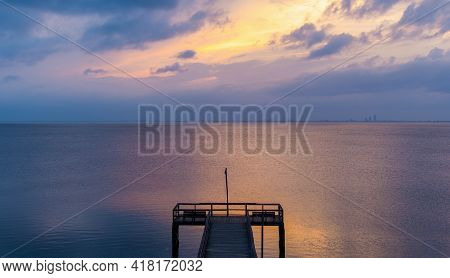 Pier On Mobile Bay At Sunset In Daphne, Alabama