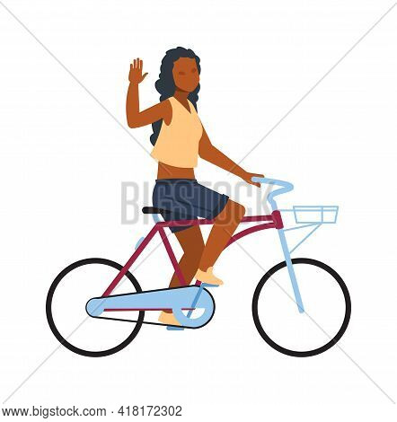Happy Woman On Bike. Cartoon Girl Riding On Bicycle. Young African Female Character Greeting Waving