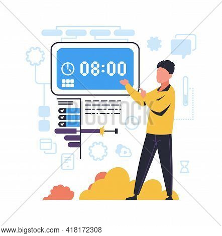Time Management. Organization Of Work Processes Concept. Man Points To Timepiece. Timetable Control.