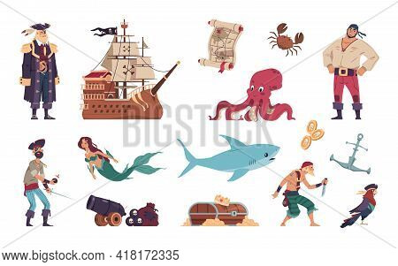 Pirates Set. Cartoon Crew Of Filibusters And Captain On Sailing Ship. Mermaid Swimming With Marine A