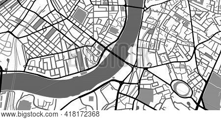 Black And White Map. City Center Roads Monochrome Scheme. Hand Drawn Town Graphic Template, Navigati