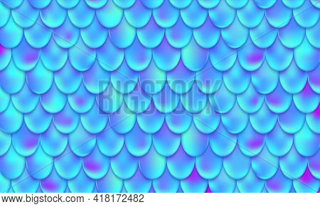 Mermaid Scales. Magical Fish Pattern. Animal Skin Seamless Texture. Abstract Iridescent Blue Backgro
