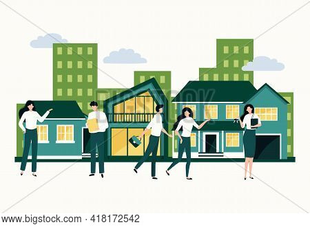 Real Estate. Property Purchase And Mortgage Concept. Agents Show Apartments By Buyers. Modern House