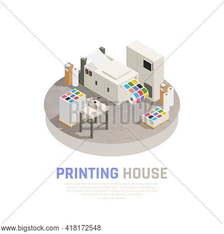 Colored And Isolated Printing House Polygraphy Isometric Composition With Monochrome Color Printing