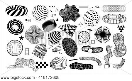 Modern Geometric Shapes. Abstract Graphic Elements With Dynamic Effects. Minimal Black And White For
